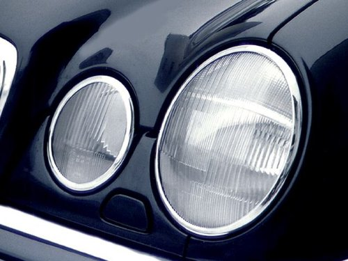 Mercedes W-210 (4dr) CHROME Headlamp Frame Rings (Accents) Overlays ()