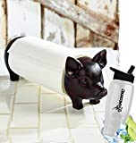 Gift Included- Decorative Farmhouse Kitchen Countertop Pig Paper Towel Holder + FREE Bonus Water Bottle by Homecricket