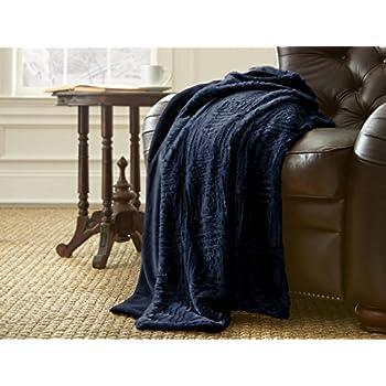 Amazon Amrapur Overseas Luxury Faux Fur Throw Indigo Home Best Luxury Throw Blanket By Amrapur