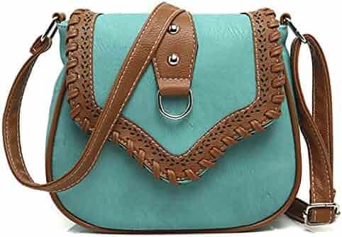 e62c287f70dc QZUnique Women s PU Sanddle Bag Studs Crossbody Handbag Hobo Access  Shoulder Bag