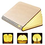 GEEDIAR Large LED Book Lamp Folding Wooden Mood Light with 2500mAh Lithium Battery Night Lamp Night Light Decorative Lamps Dupont Tyvek Paper + Wooden Cover - Warm White