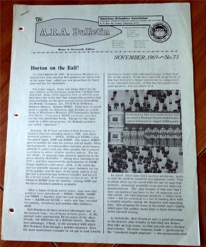 A. R. A. American Reloaders Association Bulletin November 1969, No. 75 (New Bullet Report: Loading data developed for use with .45 Super Vel JHP; .45 & .375 new items from Hornady Carbine & Much More!)