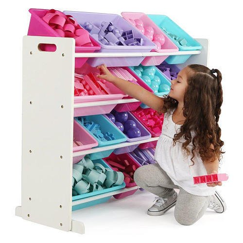 51QONL3XZtL - TOT Tutors WO574 Forever Collection Wood Toy Storage Organizer, X-Large, White/Pink&Purple