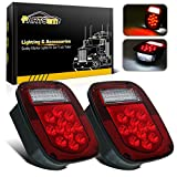 led 39 - Partsam 2x Red/White 39 LED Stop Turn Tail Stud Lights for Truck Trailer Boat RV Jeep CJ YJ JK