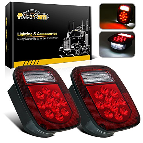 Partsam 2x Red / White 39LED Stop Turn Tail Stud Lights for Truck Trailer Boat RV Jeep TJ CJ YJ (Jeep Cj5 Cj7 Wrangler)