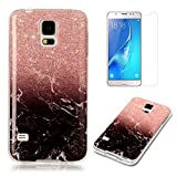 For Samsung Galaxy S5 / S5 Neo Marble Case with Screen Protector ,OYIME Creative Glossy Brick red & Black Marble Pattern Design Protective Bumper Soft Silicone Slim Thin Rubber Luxury Shockproof Cover