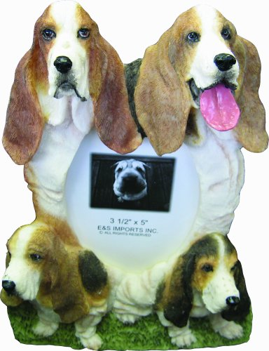 Basset Hound Picture Frame Holds Your Favorite 4 x 6 Inch Photo, A Hand Painted Realistic Looking Basset Hound Family Surrounding  Your Photo. This Beautifully Crafted Frame is A (Basset Hound Photo Frame)