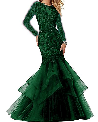 Dark Bonnie Shop Lace BS014 Sleeves Gowns Long Prom Ball Party Embroidered Green With Beaded Z Prom Formal Dresses Mermaid Bonnie Style qpSBW