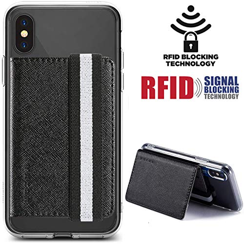 Card Holder For Back of Phone Monet RFID Flip Wallet Cover Stand Multi Slot Case Pocket Credit Card Cash Attachment for iPhone,Samung Android,Most All Smartphones (Black) (Best Credit Cards With Cash Back Offers)