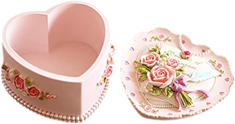Pink Heart Shaped Jewelry Box with Flowers