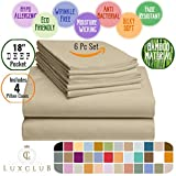 6 PC LuxClub Sheet Set Bamboo Sheets Deep Pockets 18' Eco Friendly Wrinkle Free Sheets Hypoallergenic Anti-Bacteria Machine Washable Hotel Bedding Silky Soft - Light Taupe Queen