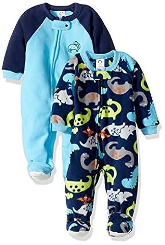Gerber Baby Boy 2 Pack Blanket Sleeper, dino, 12 Months - Infant Footed Sleepwear