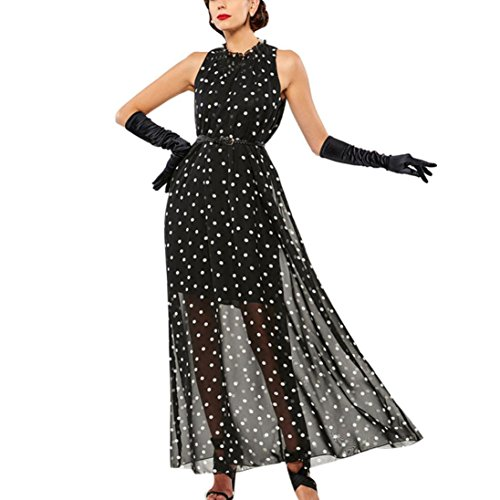 Polka Dot Dress Fabric (Ecurson Women Black Polka Dot Long Beach Sundress)