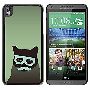 Qstar Arte & diseño plástico duro Fundas Cover Cubre Hard Case Cover para HTC DESIRE 816 ( Cat Art Hipster Moustache Glasses Feline)