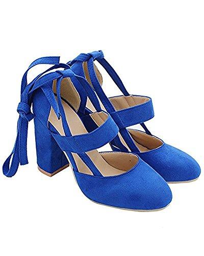 Maybest Delle Donne Grandi Sandali Con Cinturino Alla Caviglia Con Cinturini Stringati Con Tacchi Alti Semplici Pompe Classiche Blu