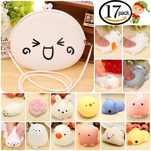 Animals Mochi Squishy Toys Pack and Kawaii Purse for Girls, Mini Silicone Squishies, 17 pcs. Fingers Toy for Stress and Anxiety Relief. Novelty Gift for Kids by Philge