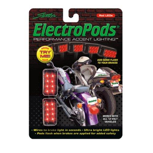 Street FX 1041908 ElectroPods Red/Black Motorcycle Rectangular Brake Pod (Light Street Electropods Fx)