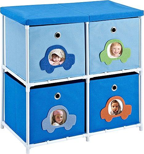 Altra Furniture Kids' 4-Bin Storage Unit, Blue (Kids Storage Bin Unit compare prices)