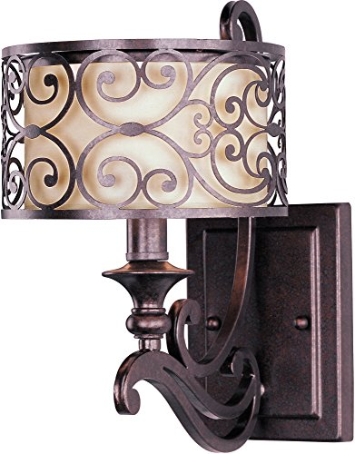 Maxim 21152WHUB Mondrian 1-Light Wall Sconce, Umber Bronze Finish, Glass, MB Incandescent Incandescent Bulb , 10.5W Max., Dry Safety Rating, 2700K Color Temp, Standard Triac/Lutron or Leviton Dimmable, Shade Material, 680 Rated Lumens