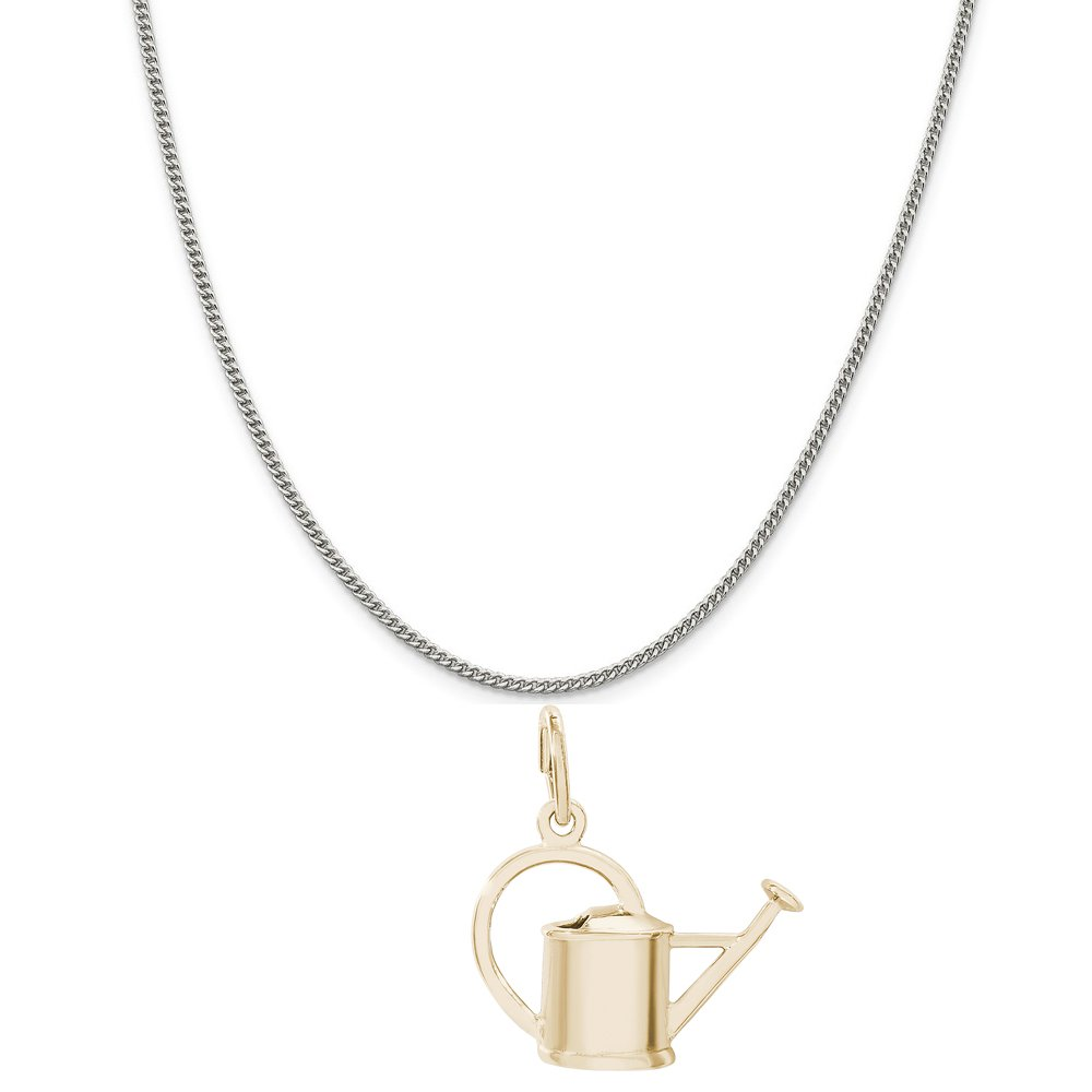 Rembrandt Charms Two-Tone Sterling Silver Watering Can Charm on a Sterling Silver 16 18 or 20 inch Rope Box or Curb Chain Necklace
