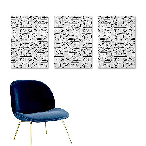 Dog Custom Oil Painting Dachshund Design Monochrome Animal Silhouette Abstract Cartoonish Bones Canine Pattern Modern Decorative Artwork 3 Panels 16x31inch Black White -