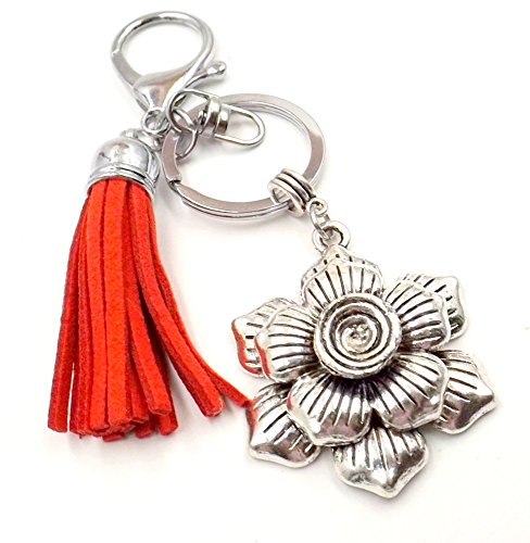 Blooming Flower Rose Women's Bag Charm Purse Car Accessory Red Tassel Clasp Ring Silver-tone Key Chain