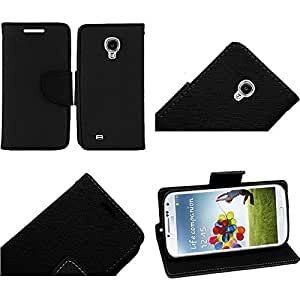 [ARENA] BLACK DUAL TONE FLIP COVER FITTED WALLET STAND POUCH CASE for SAMSUNG GALAXY S4 + FREE ACCESSORY ARENA KIT