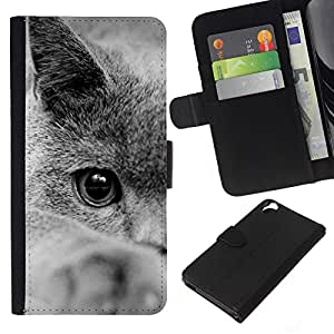 British Shorthair Siberian Blue Cat - la tarjeta de Crédito Slots PU Funda de cuero Monedero caso cubierta de piel HTC Desire 820