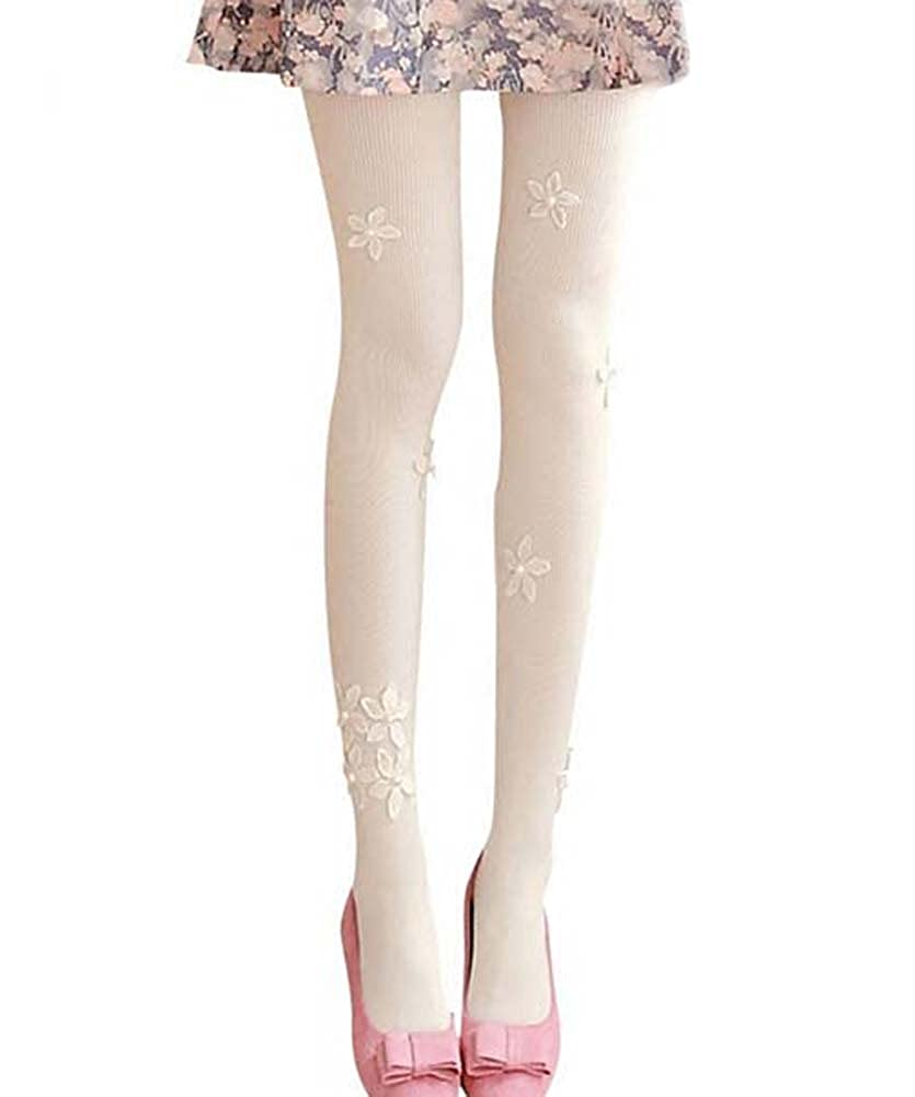 Cute Floral Border Mid Thick Stockings Tights, IVORY PS-CLO1045462-ALAN03075