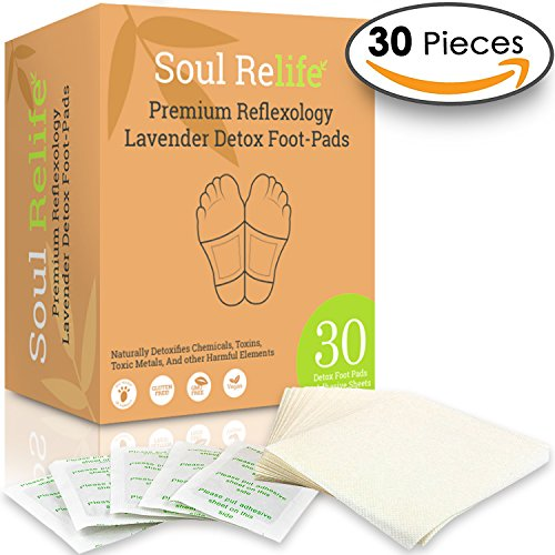 Soul Relife | Premium Lavender Foot Pads | 30-Pack | Odor Free - No Smell | Includes 30 Adhesive Feet Patches & Sheets | for Cleansing Impurities, Sleeping & Anti-Stress (Best Energy Foot Spa)