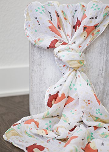 100% Organic Muslin Swaddle Blanket by ADDISON BELLE - Oversized 47 inches x 47 inches - Best Baby Shower Gift - Premium Receiving Blanket (Fox & Bear Print)