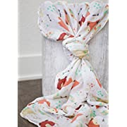 100% Organic Muslin Swaddle Blanket by ADDISON BELLE - Oversized 47 inches x 47 inches - Best Baby Shower Gift - Premium Receiving Blanket (Foxes, Bears, Woodlands Print)