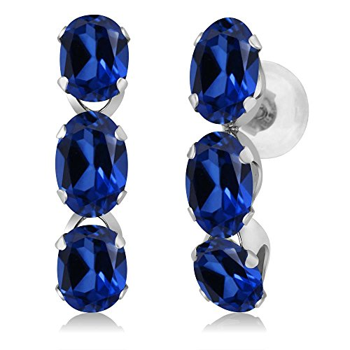 3.00 Ct Oval Blue Simulated Sapphire 14K White Gold Earrings