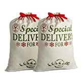 2 Pack Santa Sacks Personalized Bags Canvas Extra Large with Red Drawstring for Xmas Stockings Stuffers Presents Holder & Party Decorations for Kids (26.8'' X 19.7'')
