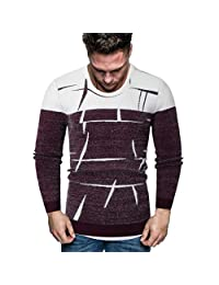 SNOWSONG Mens Crewneck Pullover Sweater Colorblock Graphic Printed Long Sleeve Cable Knitted Jumper