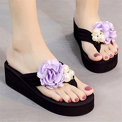 clip tacco fashion da fiori Estate pantofole con spiaggia FLYRCX le scarpe ladies' alto scivolose frescura j outdoor dolce scarpe spiaggia xEI0AA1qnw