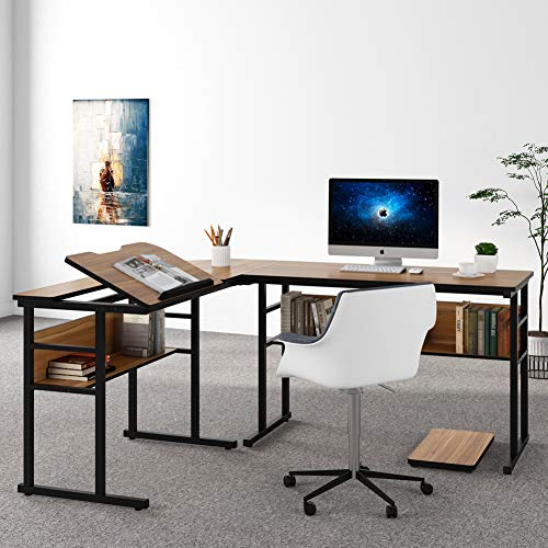 Tribesigns L-Shaped Computer Desk with Storage Shelves, Large Corner Computer Desk Study Writing Workstation Drafting Table with Bookshelf and Tiltable Drawing Board for Home Office (Oak, 67 in)