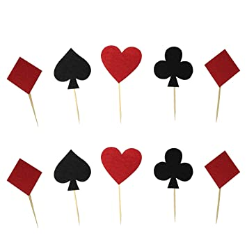 Amazon Com Bestoyard Playing Cards Cake Topper Set Dessert Decor