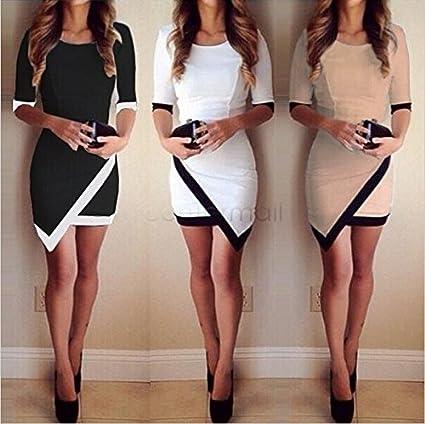 ringforu mujeres moda mitad manga Ladies asimétrica Casual vestido blanco y negro Patchwork Elegante Vestidos Bodycon
