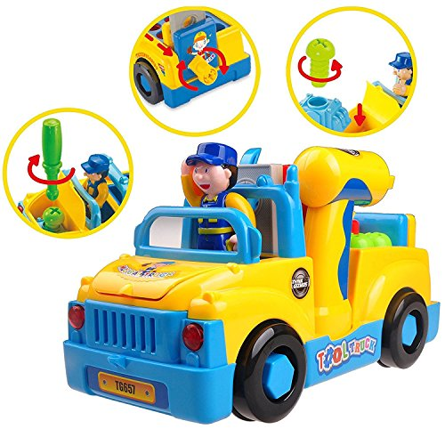 Take Apart Bump and Go Musical Truck with Lights TG657 - Fun Take Apart Construction Toy for Toddlers (Boys & Girls) Aged 3,4,5,6 - Includes Sounds & Toy Electric Drill by ThinkGizmos