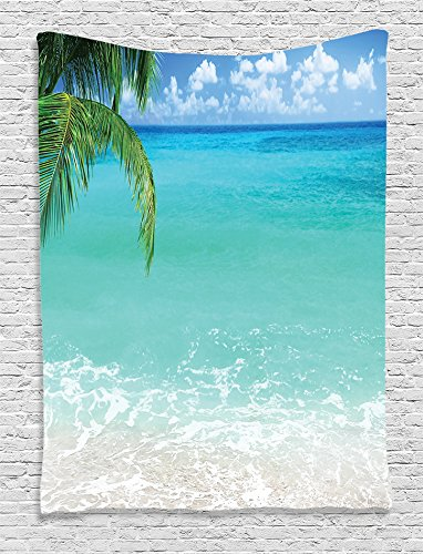 Ambesonne Ocean Decor Collection, Exotic Lebanon Beach Panoramic Sea View and Clear Sky Picture, Bedroom Living Kids Girls Boys Room Dorm Accessories Wall Hanging Tapestry, Aqua Blue Green Ivory by Ambesonne
