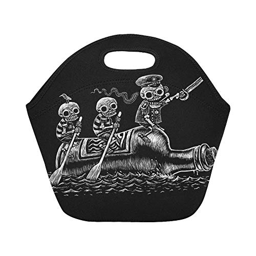 Insulated Neoprene Lunch Bag Alcoholic Sea Voyage Three Fun Skeletons Large Size Reusable Thermal Thick Lunch Tote Bags For Lunch Boxes For Outdoors,work, Office, -