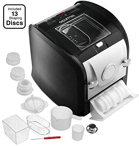 Gourmia GPM630 One Touch Automatic Pasta Maker - Mixes, Kneads & Extrudes -13 Shaping Discs, Makes 1LB Spaghetti, Macaroni, Fettuccine Lasgna & More Bonus Ravioli and Sausage Maker & Free Recipe Book