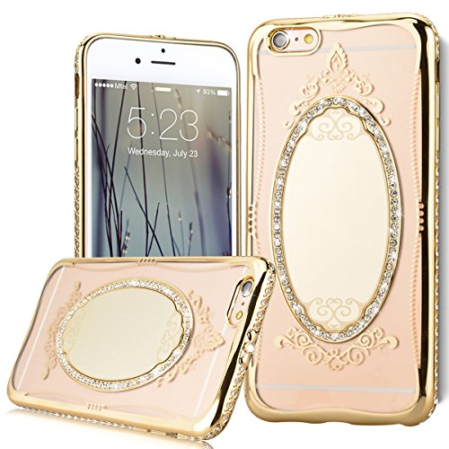 iPhone 6S Coque Clair Transparent Etui Housse Bling Diamant , iPhone 6 Gold Coque Luxe Bling Strass Miroir Étui Silicone Placage Shell , We Love Case Soft Silicone Gel Cover with Diamond Glitter Étui