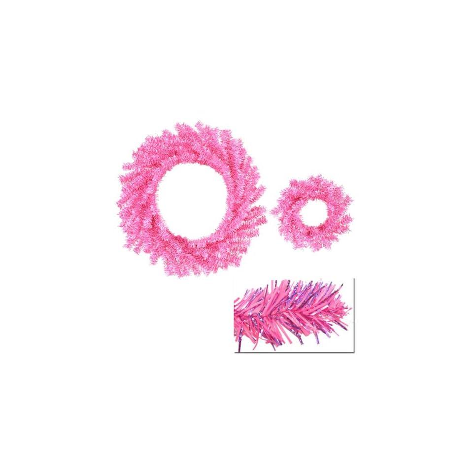 Set of 2 Sparkling Hot Pink Artificial Christmas Wreaths 10/18   Unlit