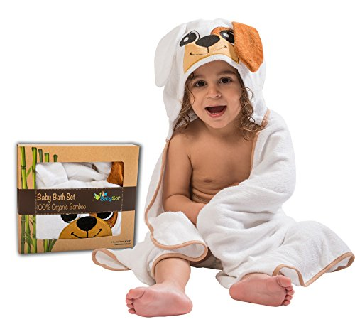 Extra Soft Baby Hooded Bath Towel & Washcloths Shower Gift Set, Organic Hypoallergenic Bamboo Large Fibers 48x30