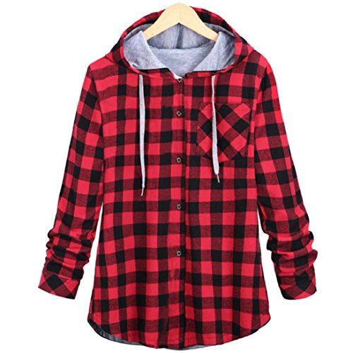 Fheaven Women Leisure Autumn and Winter New Long Hooded Plaid Cardigan Jacket (XL, Red)