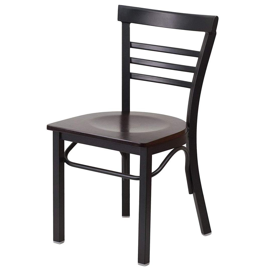 Modern Style Metal Dining Chairs School Bar Restaurant Commercial Seats Ladder Back Design Black Powder Coated Frame Finish Home Office Furniture - (1) Walnut Wood Seat #2153