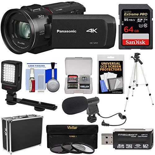 Hard Camcorders - Panasonic HC-VX1 Wi-Fi 4K Ultra HD Video Camera Camcorder with 64GB Card + Hard Case + 3 UV/CPL/ND8 Filters + Tripod + LED Light + Microphone + Kit