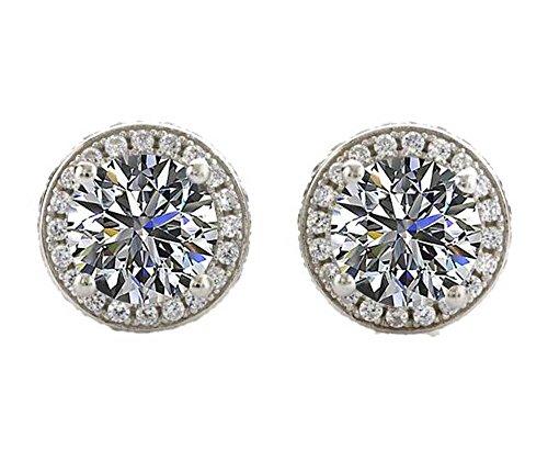 NANA Sterling Silver & 14k post Swarovski CZ Round Halo Stud Earrings- 7.5mm-3.50cttw -Platinum (14k Gold Womens Watch)